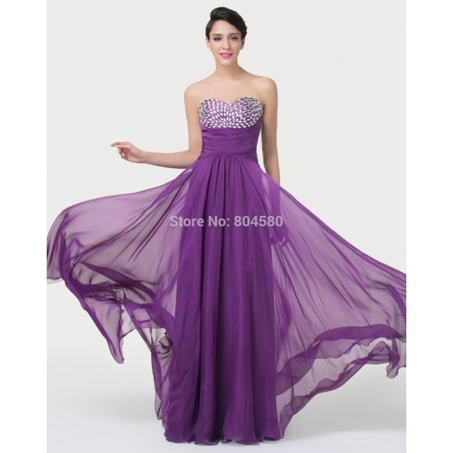 Purple Color Beading Floor Length A Line Chiffon Strapless Prom Party Dress   Fashion Bridesmaid dresses Long CL6276