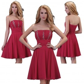 Real Photo Grace Karin Sexy Strapless Short Cocktail Dresses Party Prom Dress Women Crystal Beaded Red Formal Gown 3422