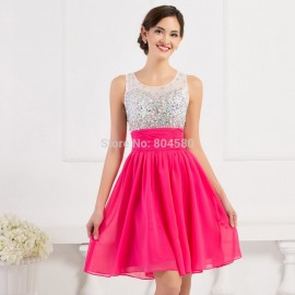 Reference Imagines A Line Knee Length Summer Ball dress Beading High Neck Prom dresses for Party Short Gown Evening CL7508