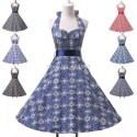 Retail/Wholesale   Fashion Halter Cotton Women 50s 60s Swing Polka Dress Vintage Rockabilly Retro Dress CL6095