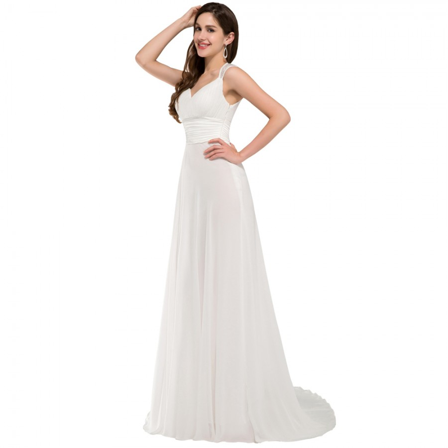 Robe de soiree floorlength chiffon party dress wedding for Cheap chiffon wedding dresses