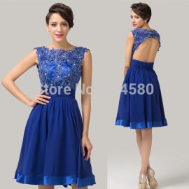 Sexy Design Knee Length Flower Applique Backless Blue Homecoming Party dresses  Short Cocktail Prom Gown dress CL6132