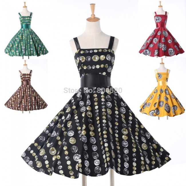 Sexy Sleeveless Swing Patchwork Casual Retro Vintage dresses 50s Knee Length Print Women Summer dress 2015 Party Ball Gown 6293