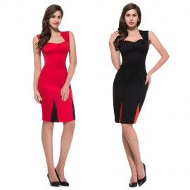 Sexy Women Office Knee Length Bodycon bandage Dress Satin Pencil Prom dresses Black Red Night Club Evening Gown 4591