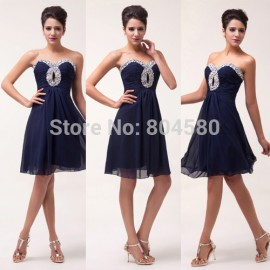 Special Beading Design   Knee Length Short Strapless Women Chiffon Ball Evening Prom Party Dress 8 Size CL6035