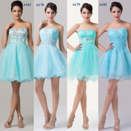Special Occasion Short Prom Dresses 2015 Knee Length Blue Strapless Ball Gown Cheap Wedding Party Dress Plus Size Beaded Stone
