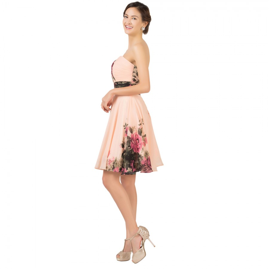 Special Weddings Party Events Knee Length Chiffon Floral Print Flower Short Bridesmaid Dresses