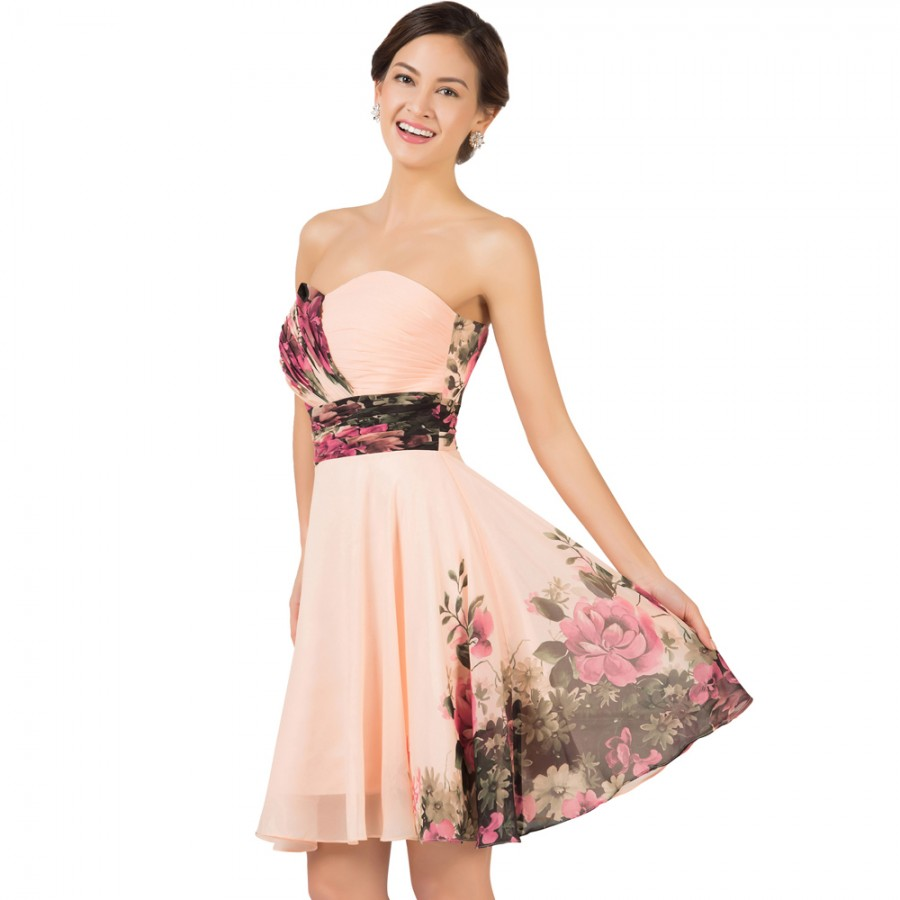 Flower Dress: Special Weddings Party Events Knee Length Chiffon Floral