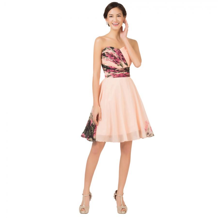 2e599e26155 Special Weddings Party Events Knee Length Chiffon Floral Print Flower Short  Bridesmaid Dresses Plus Size Lace ...