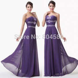 Strapless Beaded Floor Length Chiffon Celebrity dress Formal Dinner Party Gown Long Bridesmaid dresses for Prom Ball  CL6187