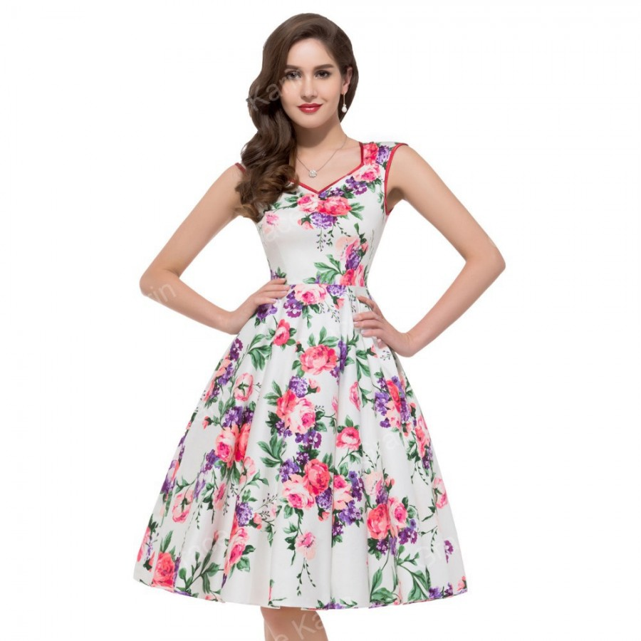 Summer Style Women Sleeveless Casual Flower Pattern Fl Print Dress Retro Swing 50s Party Beach Vintage