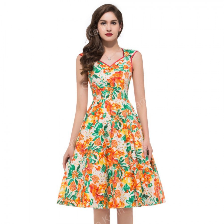 Summer style women sleeveless casual flower pattern floral for Casual flower girl dresses for beach wedding
