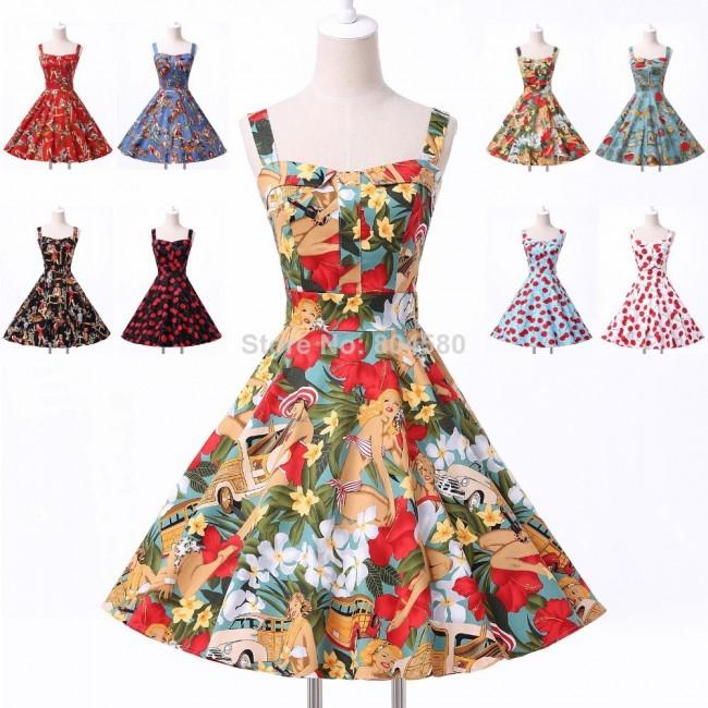 Top Selling women Knee Length 50s 60s Swing vintage Dance dress Flower Print dress party CL6092