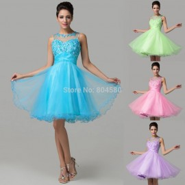 Turquoise Open Back Knee Length Party Gowns High School 8th grade Homecoming dresses 2015 Ball Graduation Prom Short Dress D6151