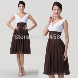 Unique Double V Neck Mid-Calf Business Summer Women dress Short Cocktail dresses Formal Party Gown for Special Occasion CL6249