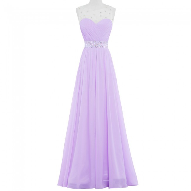 Vestido Lilas Purple Pink Long Bridesmaid Dresses Adult Party Dress Lilac Chiffon Bead Floor length 2016 Wedding Prom Gown 6112