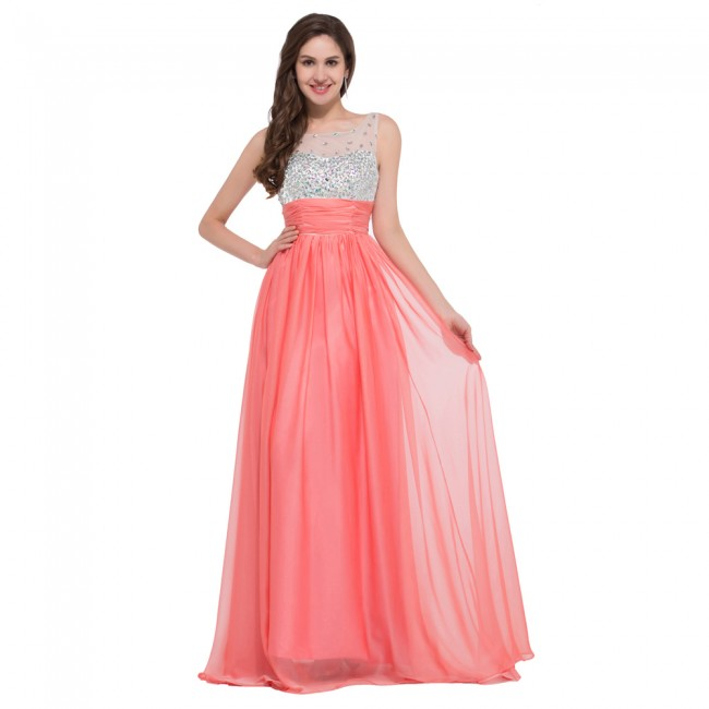 Vestido de Casamento Longo Tank Red Pink Blue Party Wedding Dress Chiffon Princess Bridesmaid Dresses Long Lace Up Back 6130