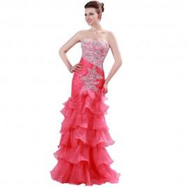 Vestidos Madrinha Floor length Brazilian Wedding Bridesmaid Dresses Mermaid Tiered Long Party Dress Formal Prom Gown Red 6073