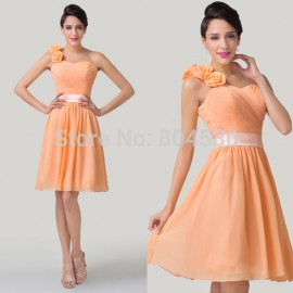 Wholesale Grace Karin Stock Fashion Knee Length Sexy One Shoulder Flower Slim Party Gown Short Bridesmaid Dress Orange CL6219