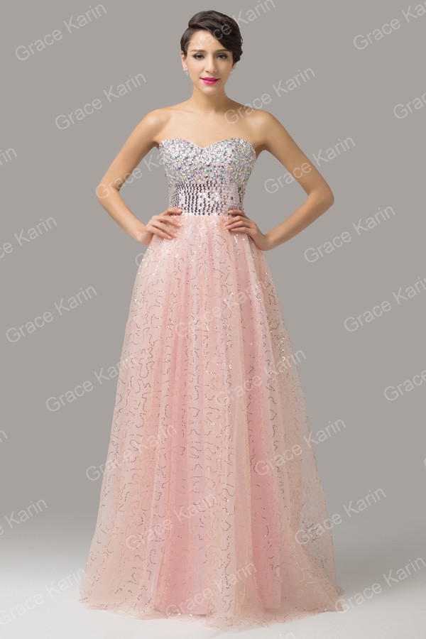 Cheap Prom Ball Gown Pink White Sexy Long Evening Dresses 2015 Tulle