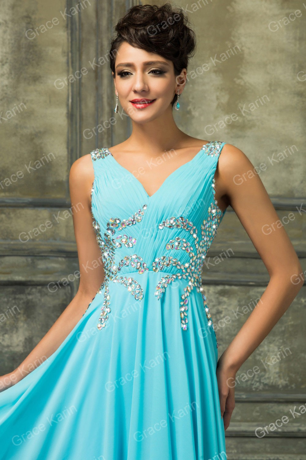 New Design Sleeveless Floor-length Chiffon Long Prom Dresses 2015 ...