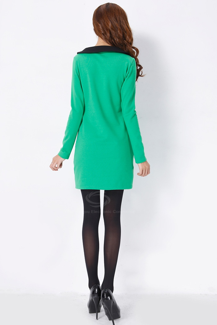 Vintage Style Peter Pan Neck Long Sleeves Color Match Fitted Good Cut Thicken Dacron Women 39 S Dress