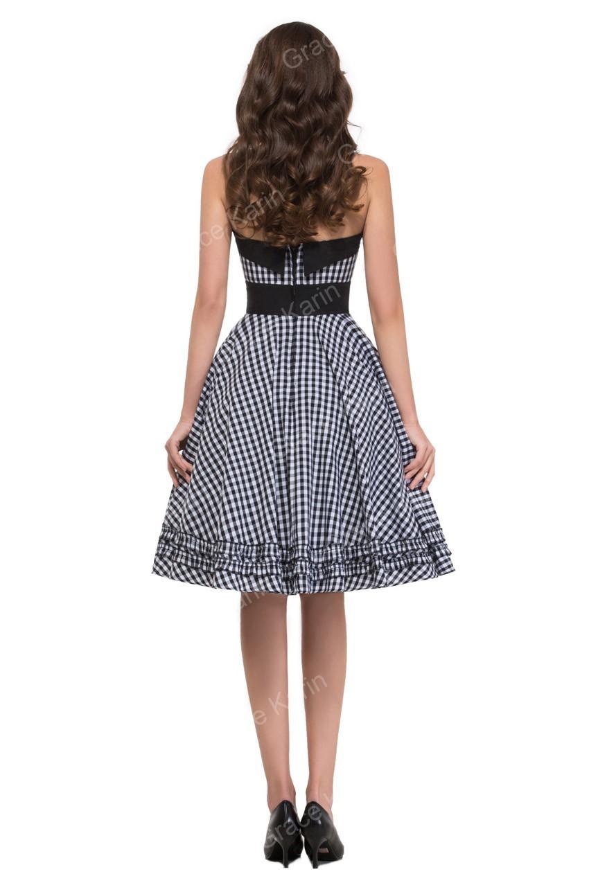 Halter Cotton Knee Length Women Plaid Dress Vintage 50s